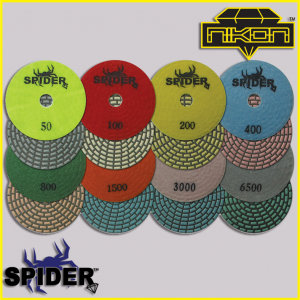 The Spider Dry Brick Polishing Pads by Nikon Diamond Tools for Granite, Quartz, Natural, and Engineered Stone