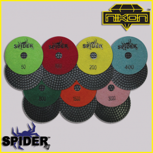 The Spider Wet Brick Polishing Pads by Nikon Diamond Tools for Granite, Quartz, Natural, and Engineered Stone