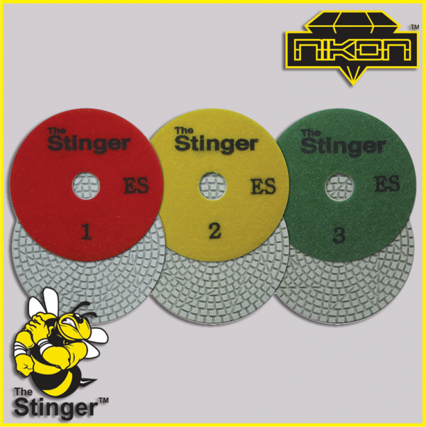 The Stinger 3 Step Engineered Stone Wet Brick Polishing Pads by Nikon Diamond Tools for Granite, Quartz, Natural, and Engineered Stone