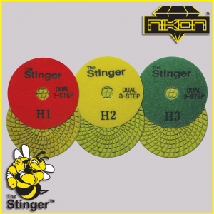 The Stinger Dual Wet Spiral Polishing Pads by Nikon Diamond Tools for Granite, Quartz, Natural, and Engineered Stone