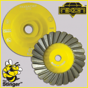 The Stinger Aluminum Turbo Cup Wheels by Nikon Diamond Tools for granite, natural, and engineered stones