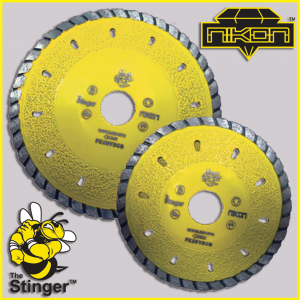 The Stinger Contour Vacuum Brazed Diamond Blade by Nikon Diamond Tools for Granite, Quartz, Quartzite, Natural Stone, Engineered Stone