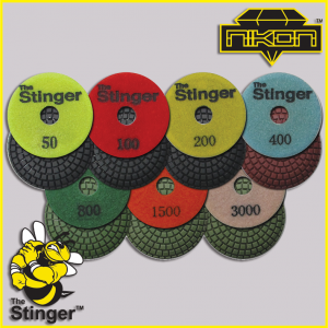 The Stinger Wet Brick Convex Polishing Pads by Nikon Diamond Tools for Granite, Quartz, Natural, and Engineered Stone