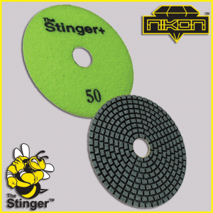 The Stinger Plus Wet Brick Polishing Pads by Nikon Diamond Tools for Granite, Quartz, Natural, and Engineered Stone