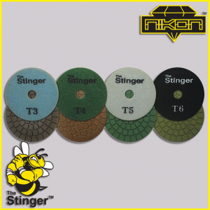 The Stinger Pro Edge Wet Brick Polishing Pads by Nikon Diamond Tools for Granite, Quartz, Natural, and Engineered Stone