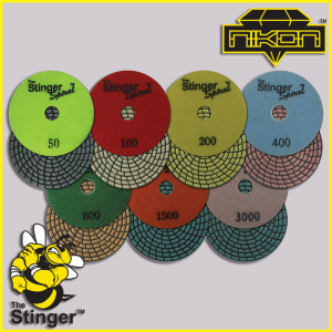 The Stinger Spiral Dry Brick Polishing Pads by Nikon Diamond Tools for Granite, Quartz, Natural, and Engineered Stone