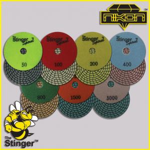 The Stinger Spiral Dry Brick Polishing Pads by Nikon Diamond Tools for Granite, Quartz, Natural, and Engineered Stone