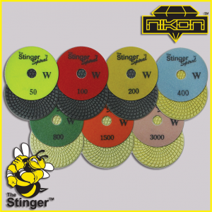 The Stinger Wet Spiral Polishing Pads by Nikon Diamond Tools for Granite, Quartz, Natural, and Engineered Stone