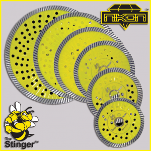 The Stinger Turbo Waved Diamond Blade by Nikon Diamond Tools for granite, quartz, natural stone