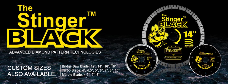 The Stinger Black Diamond Blade Series Banner by Nikon Diamond Tools for granite, quartz, natural stone